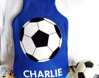 Football personalised hot water bottle cover - personalized - boy's bedroom - gift for soccer fan - gift for football fan - football decor