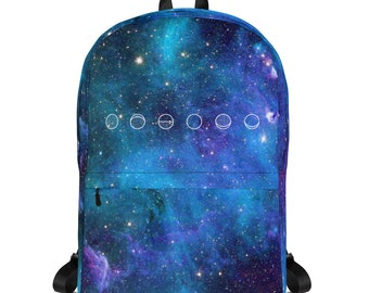 Phases of the Moon Backpack | Galaxy Print Background | Astrological Vibez Laptop Backback | Medium Size Backpack