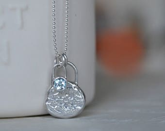 Sterling Silver Floral Relic and Sky Blue Topaz Pendant. Relic Necklace. Blue Topaz Necklace. Gift for her. Floral Necklace. Flower Necklace
