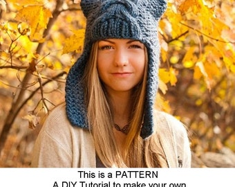 Instant Download Knitting Pattern - Knit Hat Pattern for Dragon Slayer Ear Flap Hat Pattern - Womens Hat Pattern Womens Accessories