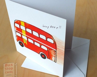 Routemaster London Bus Blank Greetings Card