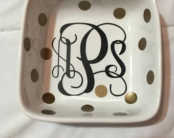 Monogram Ring Dish, custom ring dish, bridal gift, ring holder, jewelry holder