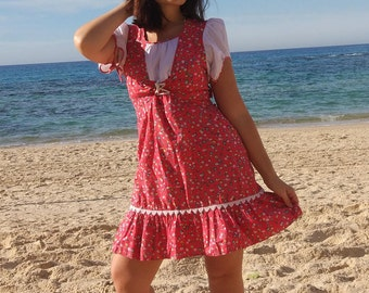 60's Boho vintage floral red dress/ coachella/  woodstock  / small / embroidery / corset / cotton happy hippie
