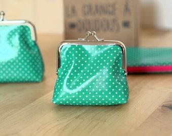 Retro purse green Emerald with white polka dots (8.5 cm CLASP)