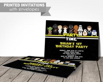 starwars birthday invitation, star wars the force awakens, PRINTED invitations, or digital file, star wars birthday party invitations
