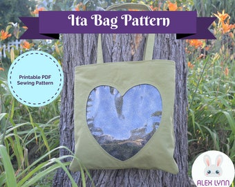 Ita Bag PDF Sewing Pattern - Ita Bag with Hidden Zipper Clear Pocket Tote PDF Sewing Pattern & PDF Tutorial - Clear Window Bag Pattern