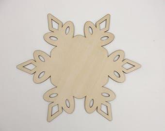 """10"""" wood snowflake cutout"""