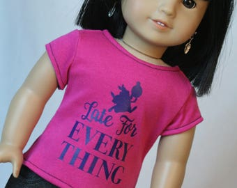 """18 Inch Doll Shirt, Wonderland Doll Shirt, Late for Everything Doll Clothes, fit American Girl Doll, 18"""" Doll Clothes, 18 inch doll clothes"""