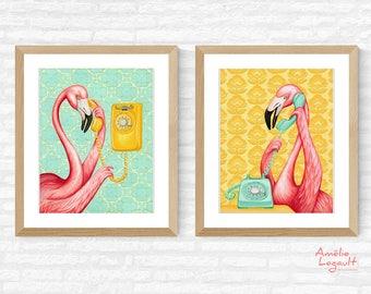 Duo d'affiches de flamants roses au téléphone, formats 5 x 7'', 8 x 10'' et 11 x 14''