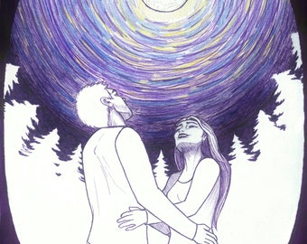 Once Upon A Northern Night - Romantic Couple in the Woods Under the Full Moon Figure Pen and ink Colour Drawing
