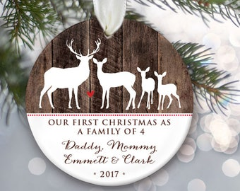 Deer Family of 4 Personalized Christmas Ornaments - Family of four Deer Ornament - Faux wood Stocking Stuffer Christmas Gift for her OR781