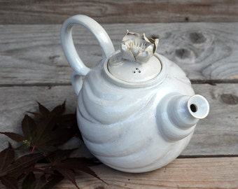 Waterlily Teapot - Stoneware teapot with a waterlily flower - white glaze