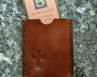 Leather Business Card Holder, Business Card Holder, Leather Card Holder, Card Holder, Leather Wallet, Wallet, Cross Stamped Card Holder