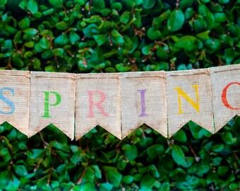 Spring Banner, Spring Decor, Spring Burlap Banner, Spring Sign, B194