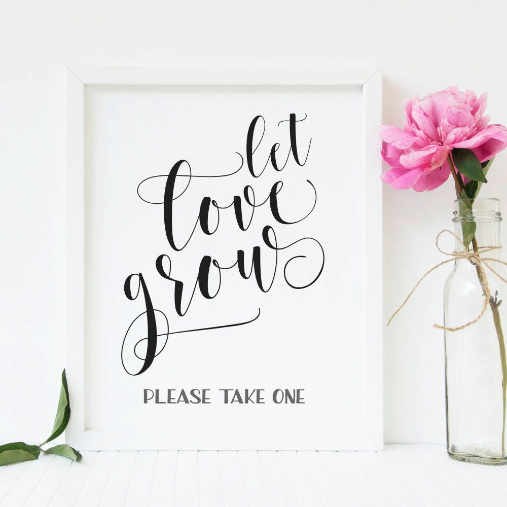 Let love grow sign Rustic Wedding favors sign Wedding seed