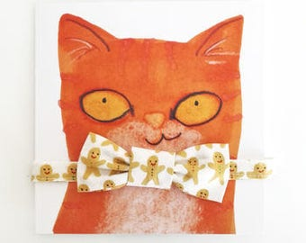 Christmas Cat Gift Set  - Gingerbread People bowtie with matching quick release collar
