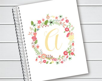 Personalized Notebook, Floral Initial Spiral Notebook, Spiral Bound Writing Journal (NB-010-PC)