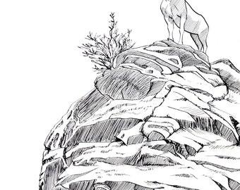 Bighorn Sheep Colorado Original Ink Drawing Inktober Rocky Mountain Wildlife Artwork Original Artwork Unframed Artwork Black and White