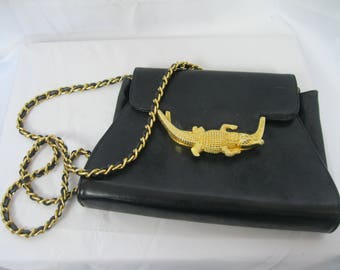 Black Leather Via Piaggi With Gold Tone Alligator Hardware Chain Crossbody