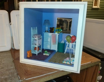 Great Quality dollhouse room Nursery shadow box purple baby girl's room high chair toys bears lamp changing table balloons gifts 1/12 scale