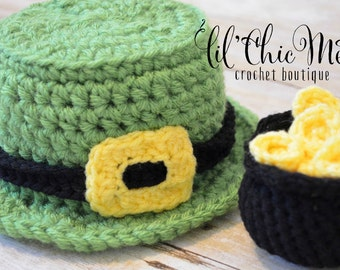 Baby Leprechaun Hat & Pot of Gold Set~St. Patrick's Day Photo Prop/Baby Gift