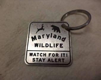 Maryland Wildlife Street Sign Etched Nickel Silver Keychain