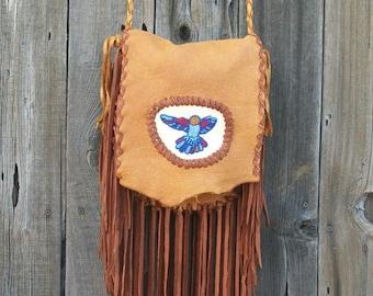 Fringed leather handbag ,   Beaded hummingbird ,  Gypsy handbag ,  Fringed leather handbag