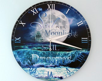 """Nautical Wall Clock - Sail in the Moonlight, Sail in your Dreams 11"""""""