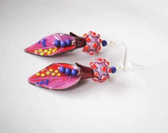 Funky Leaf Earrings, Enamel Earrings, Lampwork Earrings, Polka Dot Earrings, Colorful Earrings, Modern Chic Earrings, Boho Hippie Earrings