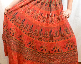 Vintage 80s Cotton India Tapestry Hippie Broom Skirt