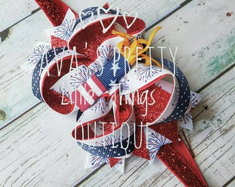 Patriotic Collection ~ Fireworks Bow ~ Clip or Headbands ~