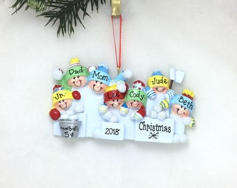 7 Family Snowball Fight Personalized Christmas Ornament / Family of Seven / Snow Fort / Snow Day / Friends / Kids