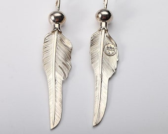 Silver Feather Pendant   Native American Inspired   Feather Jewelry   Squash Blossom Necklace Pendant   Tribal Feather Charm  Bohemian Charm