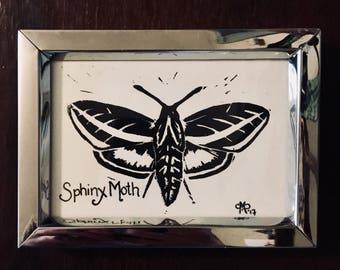 Linocut Sphinx Moth Print