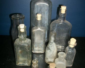 Antique Bottle Lot Corked Apothecary Bottles