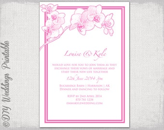 orchid wedding invitation template pink orchid printable wedding invitations templates you edit hot pink diy instant download