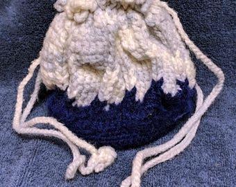 Blue Drawstring Purse