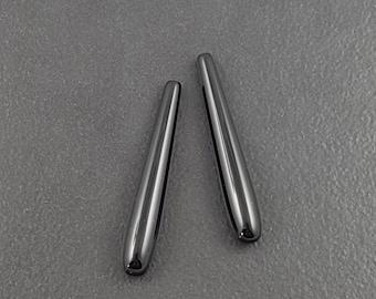Black Onyx Earring Drops, top drilled, pair, pendant drops, set of 2, teardrop beads, 35x6mm earring drop, black teardrop, mgsupply, drops
