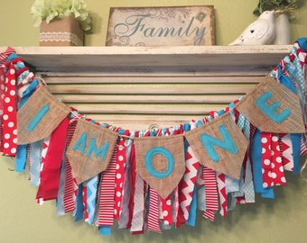 Red Wagon party decor Dr Seuss party First birthday Red Aqua Burlap Banner Rag Garland Baby shower Highchair Banner