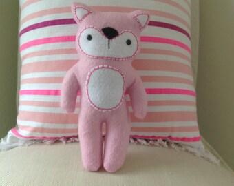 Hand-Sewn Pink Felt Fox with Treasure Pocket, Tooth Fairy Pillow