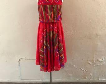 Psychedelic Red Dress - boho sundress - 1970s vintage dress - resort dress - gypsy dress - Xmas in the Caribbean - boho - troppobella