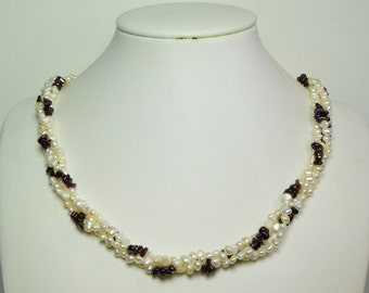 Valentine's Day Special- 3-strand  Pearl Neckalce with garnet -20-22 inches 5 mm White Freshwater Pearl Necklace with garnet