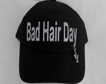 Glitter Bad Hair Day Hat/Cap/ It Comes With A Removable Comb & Brush Charm Or Choose A Charm From The 2nd Picture/Women's Baseball Hat/Cap