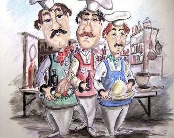 We Three Chefs - Art Print