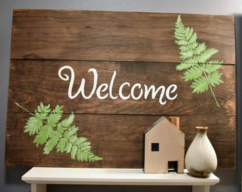 Welcome with Fern Leaves