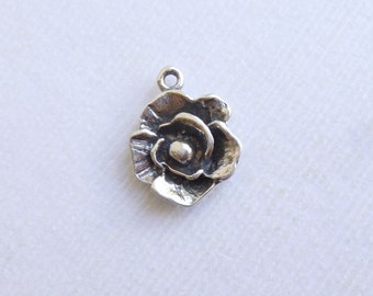 Rustic Sterling Silver Rose Charm -- 1 Piece... Flower Pendant