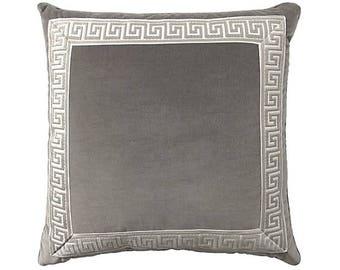 Charcoal Grey Designer Velvet Pillow Cover Grey White Greek key ribbon trim All Size Available neutral