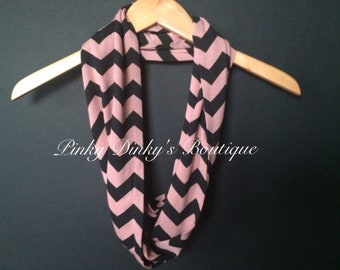 SALE  New Jersey Knit Fashion Infinity Chevron Scarf  Puce/Black