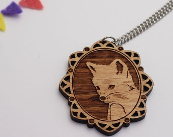 Laser cut wood necklace - Adorable little foxy fox cameo - natural wooden finish