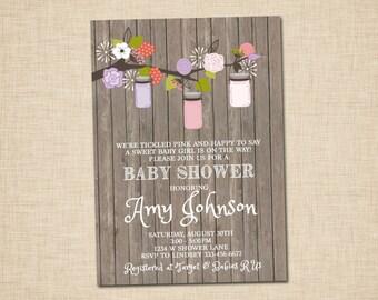 Shabby Chic Cottage Antique Baby Shower Invitations - Mason Jar - Blossoms
